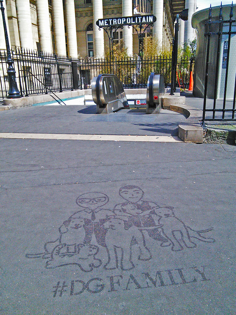 International street advertising  Reverse Graffiti DGFamily Paris