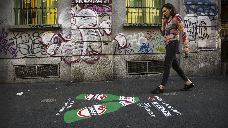Street advertising greengraffiti Becks Milano